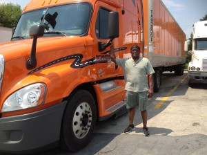 driver with big rig truck
