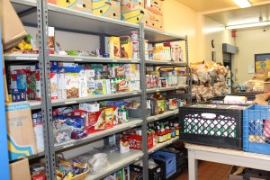 shelves at food bank