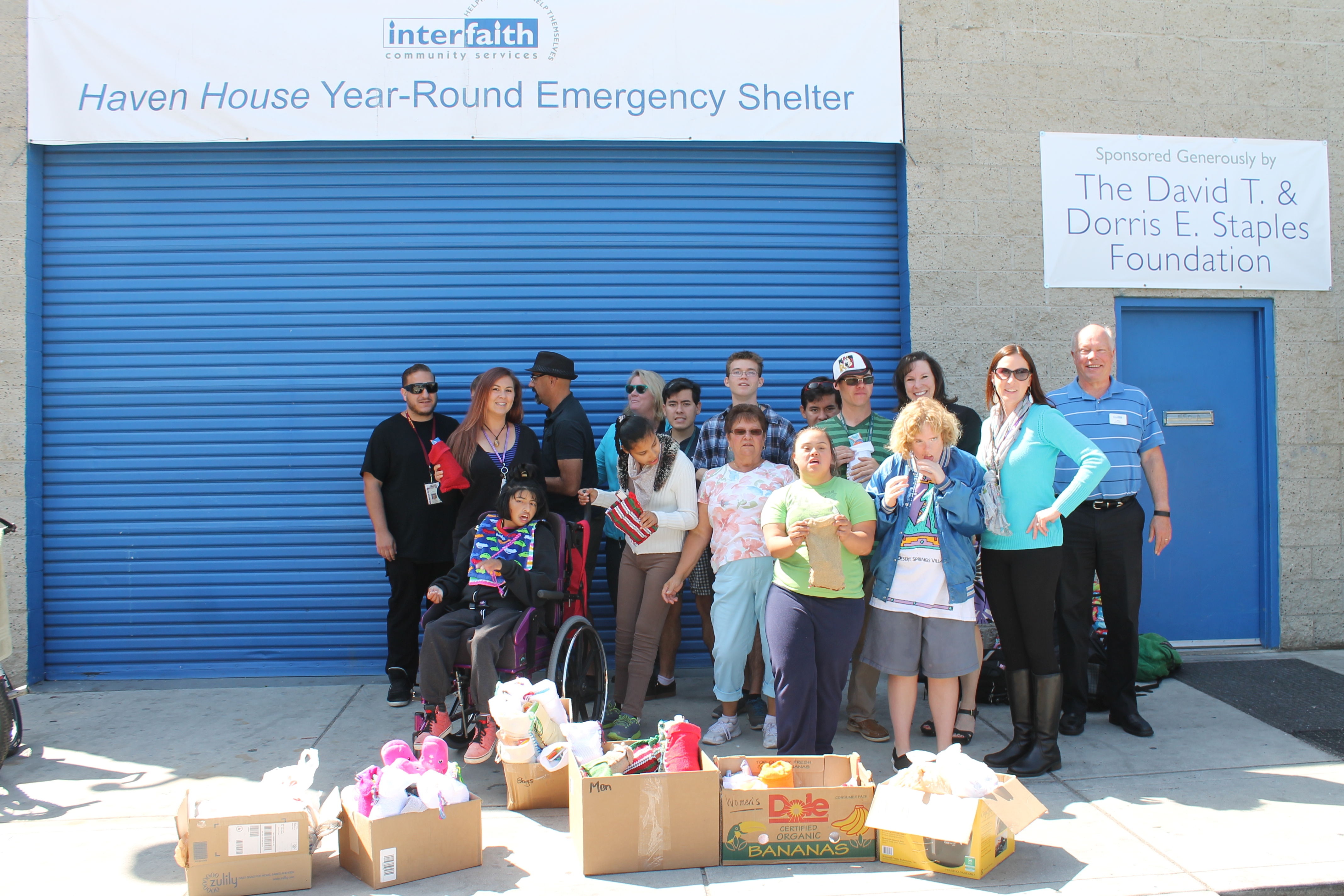 group photo outside haven house year-round emergency shelter