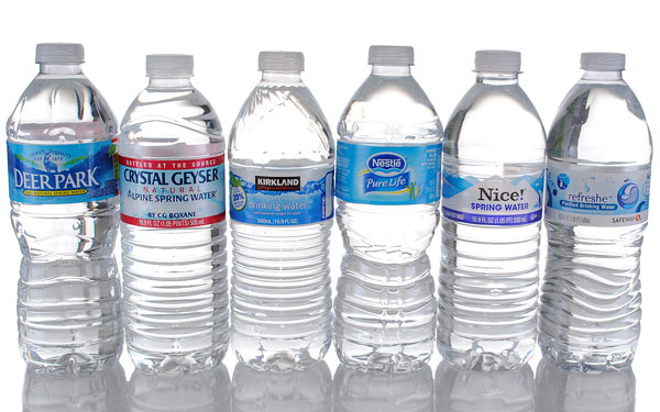 different brands of water bottles