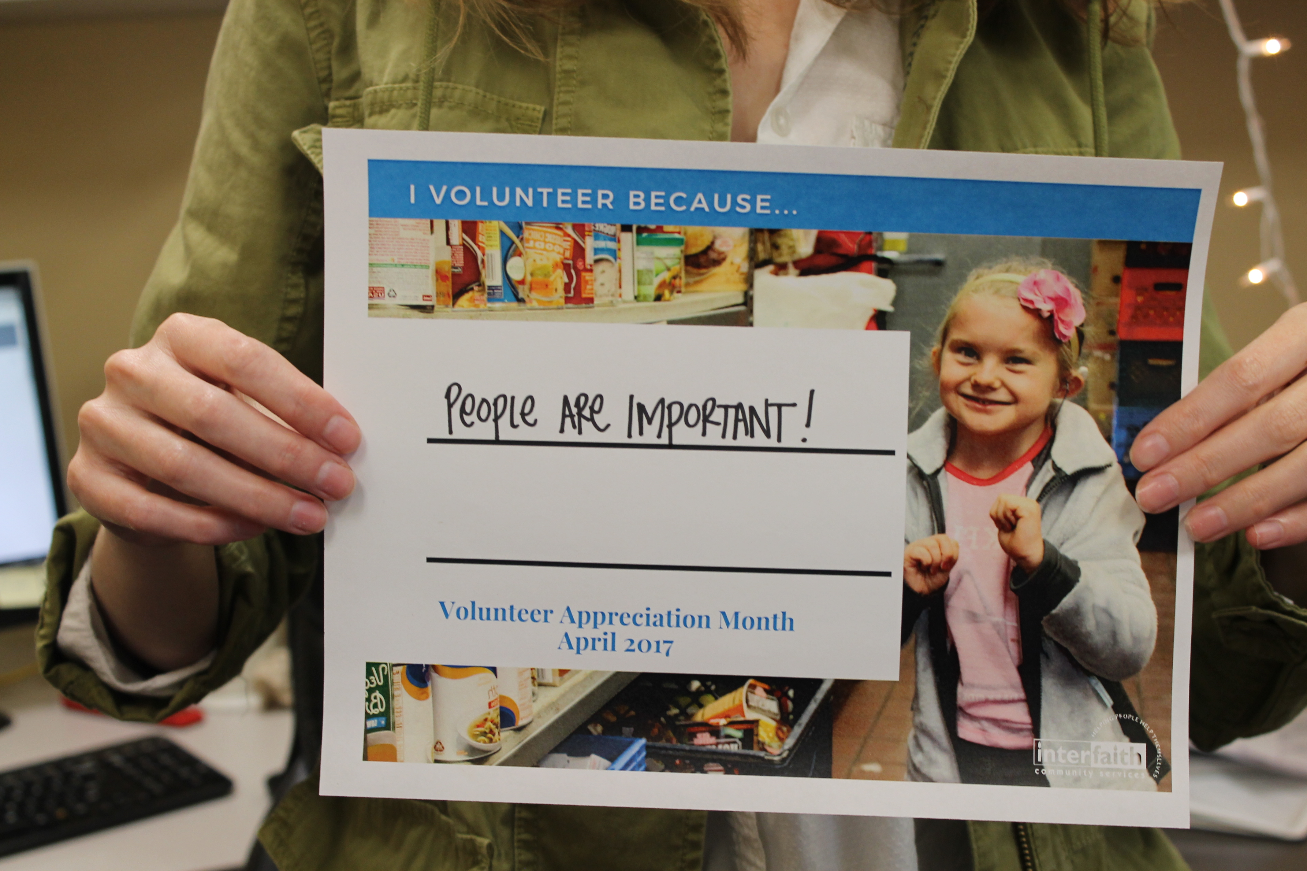 i volunteer because people are important volunteer appreciation month flier