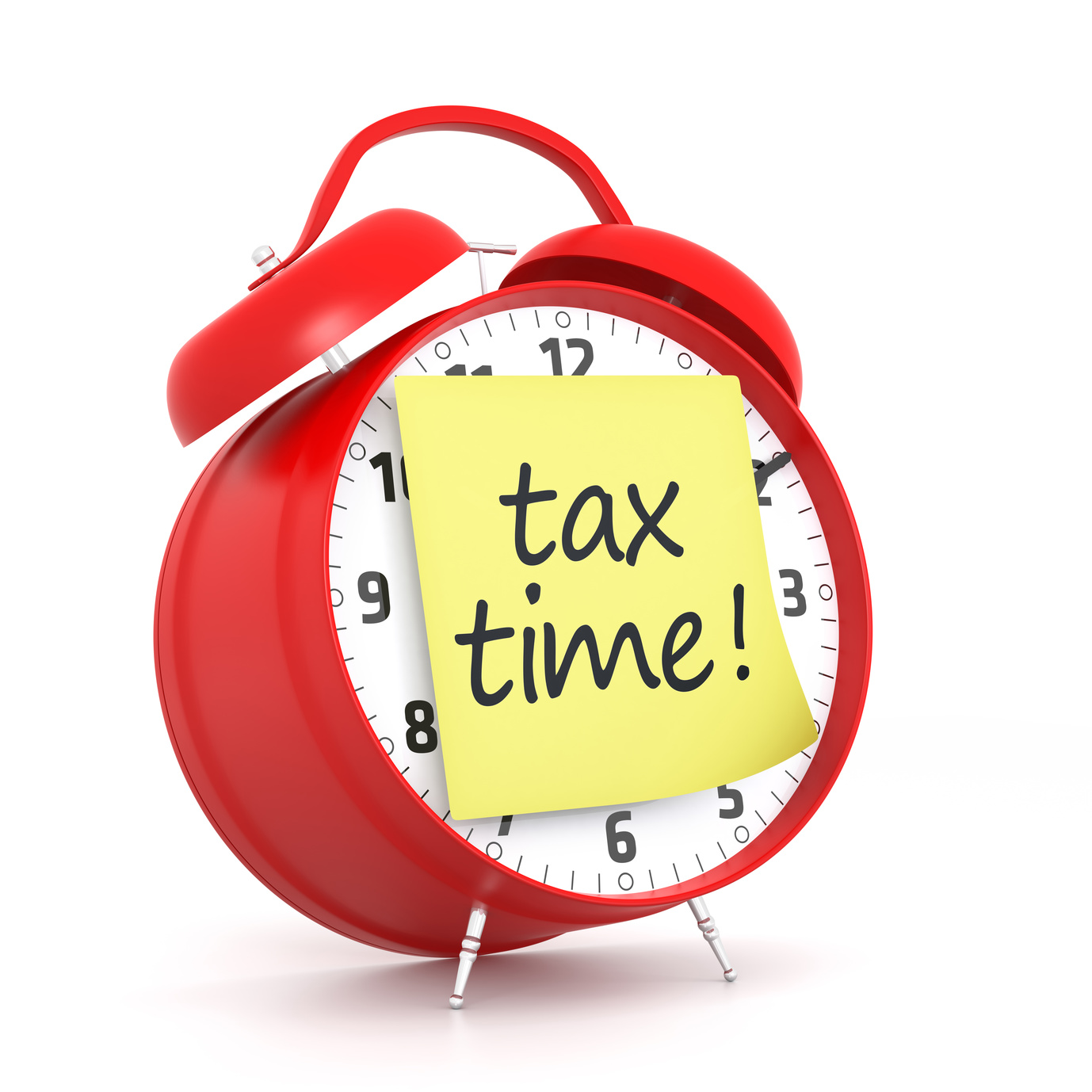 tax time post-it and red alarm clock