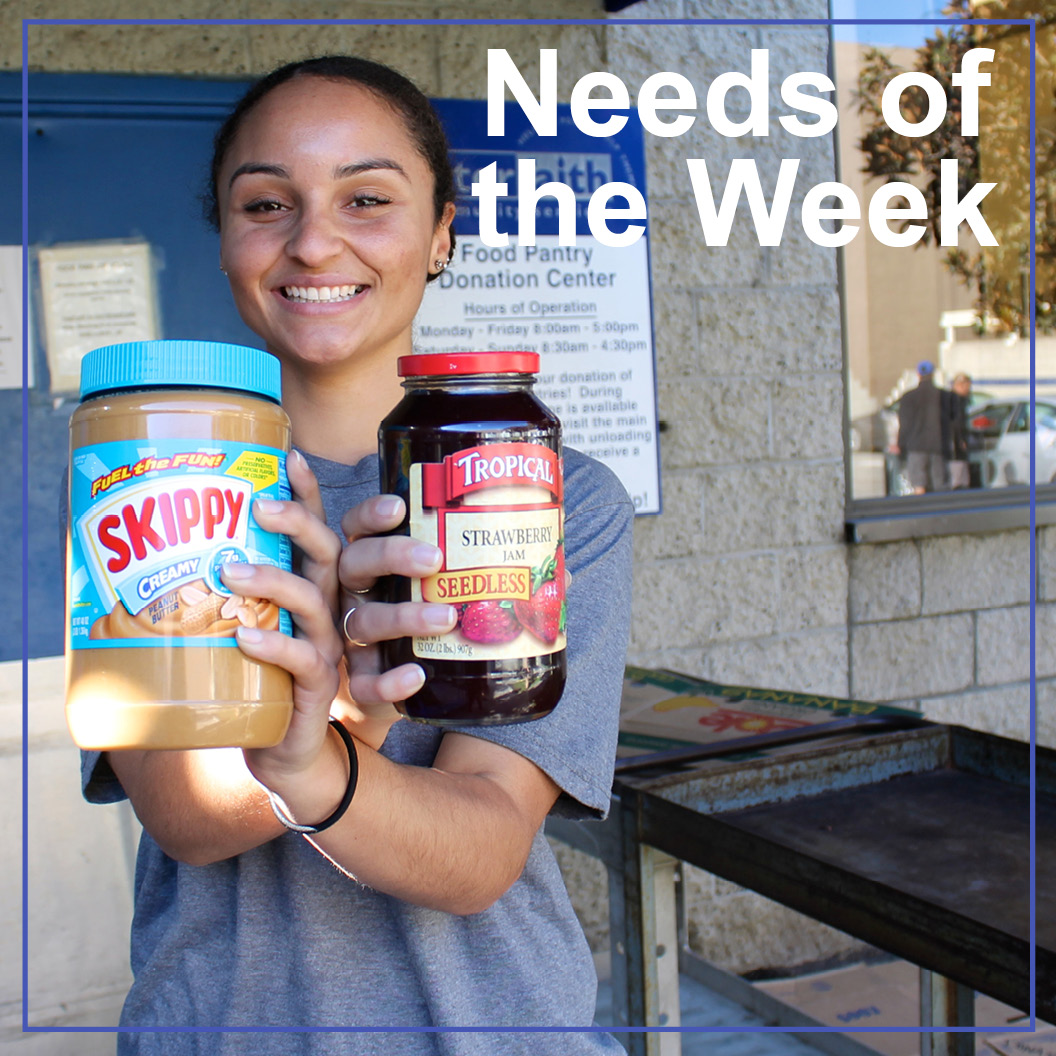 needs of the week woman holding peanut butter and jelly