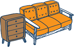 couch and drawers drawn graphic