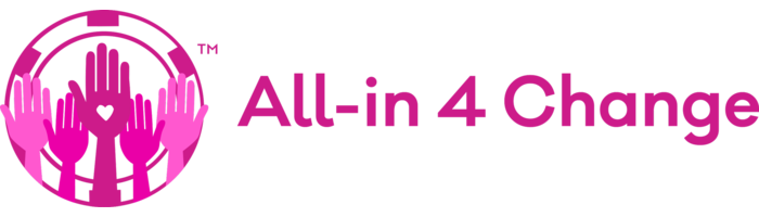 all in for change logo banner