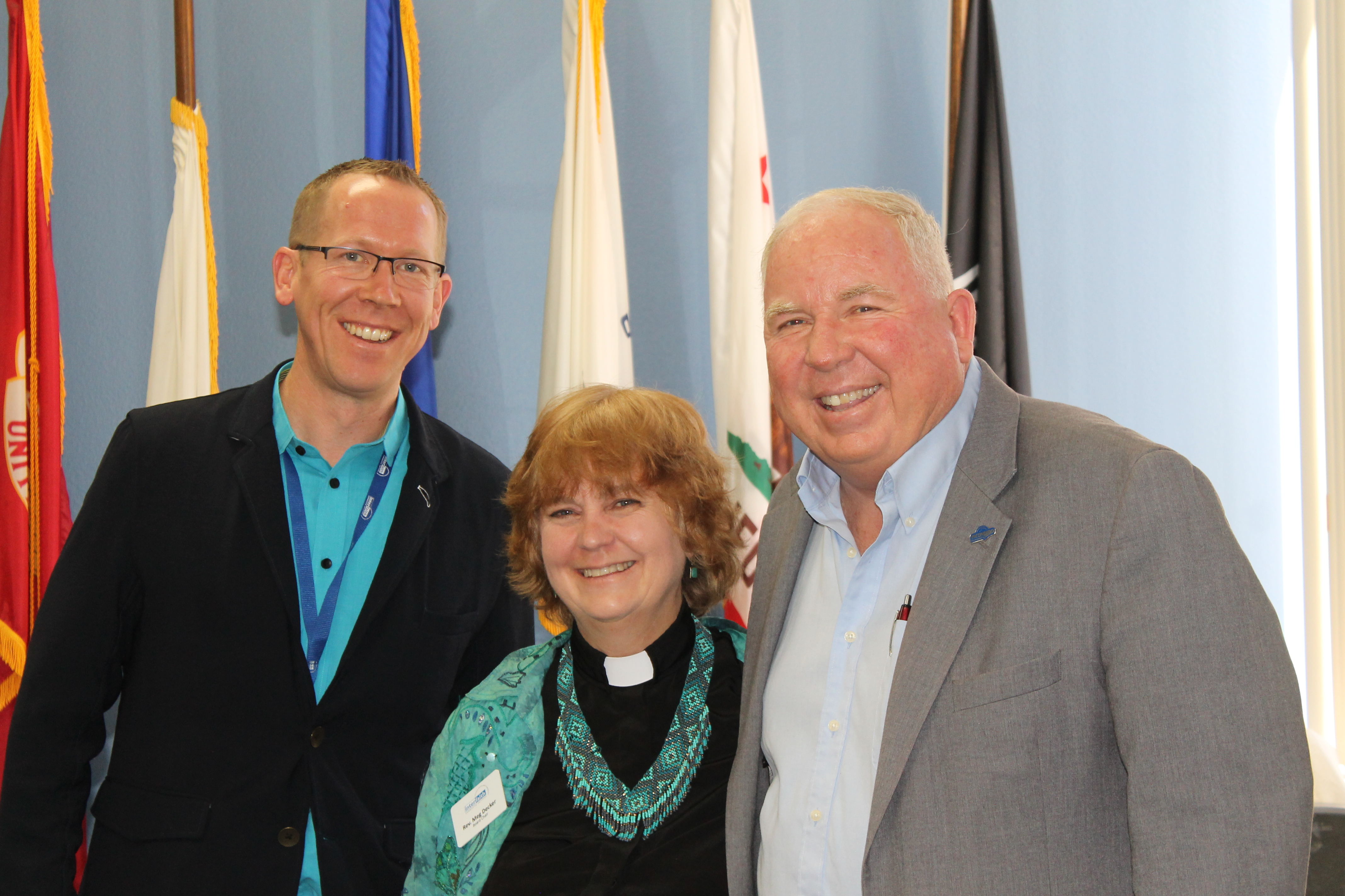 Interfaith CEO, Greg Anglea, and Board Chair, Rev. Meg Decker, with Escondido Mayor McNamara