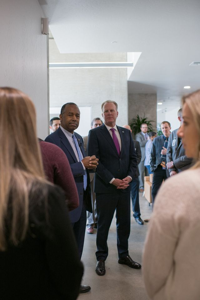 HUD Secretary, Ben Carson, and San Diego Mayor, Kevin Faulconer, at the Stella Affirmed Housing Development.